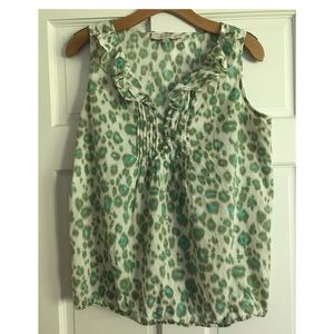 LOFT Cheetah Print Sleeveless Top Green Small